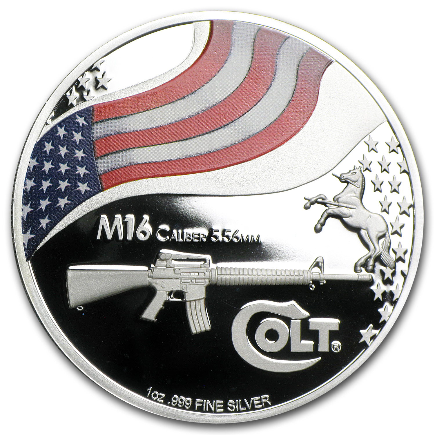 2010 New Zealand 1 oz Silver $5 American Colt M16 (w/Box & COA)