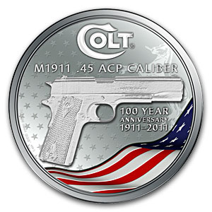 2011 New Zealand Mint Colt M1911 Hand Gun 1 oz Silver Coin