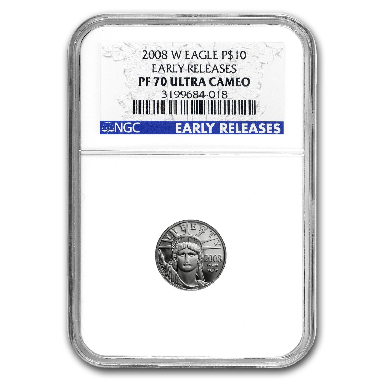 2008 W 1 10 Oz Proof Platinum American Eagle Pf 70 Ngc Er
