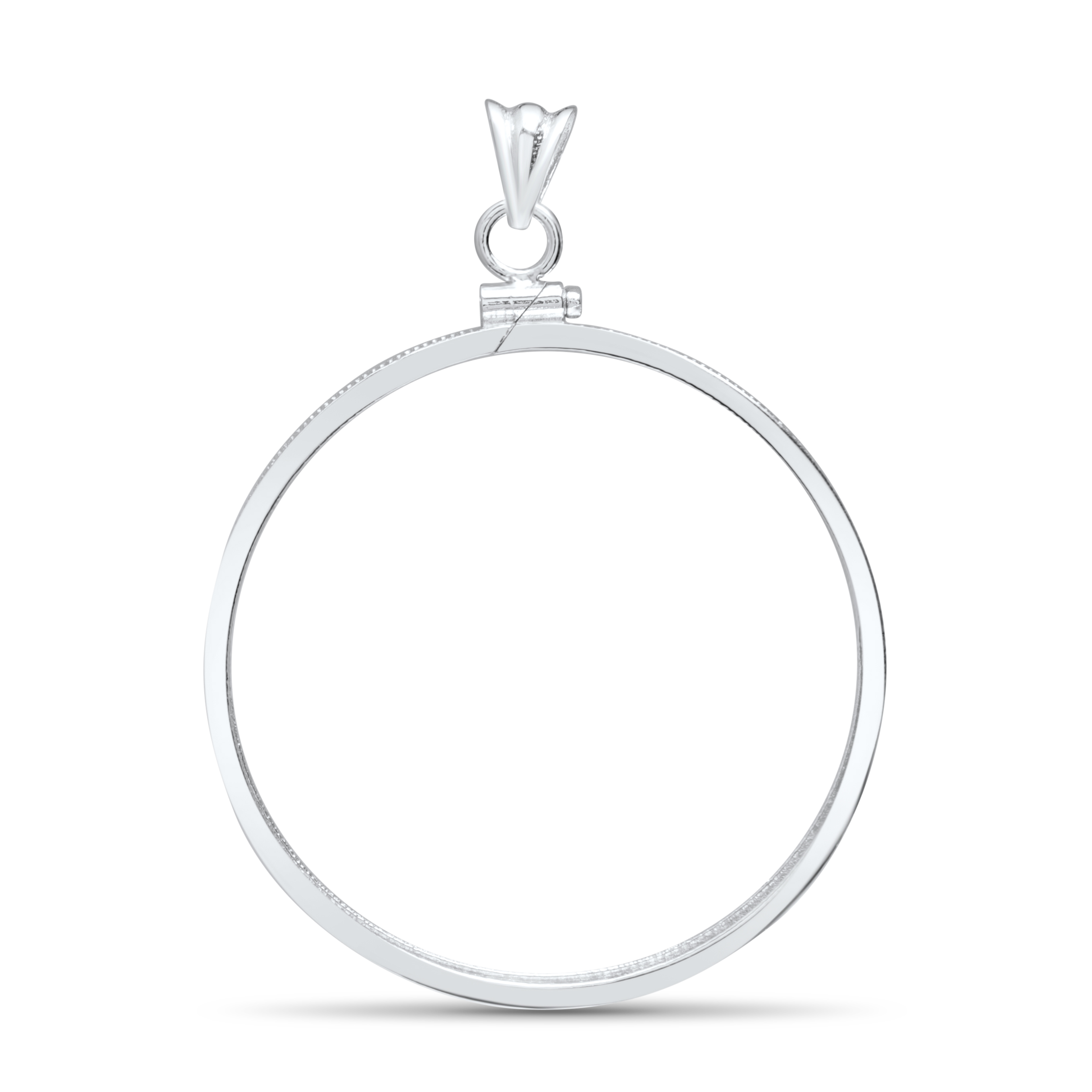 Sterling Silver Screw Top Plain Front Coin Bezel - 38 mm