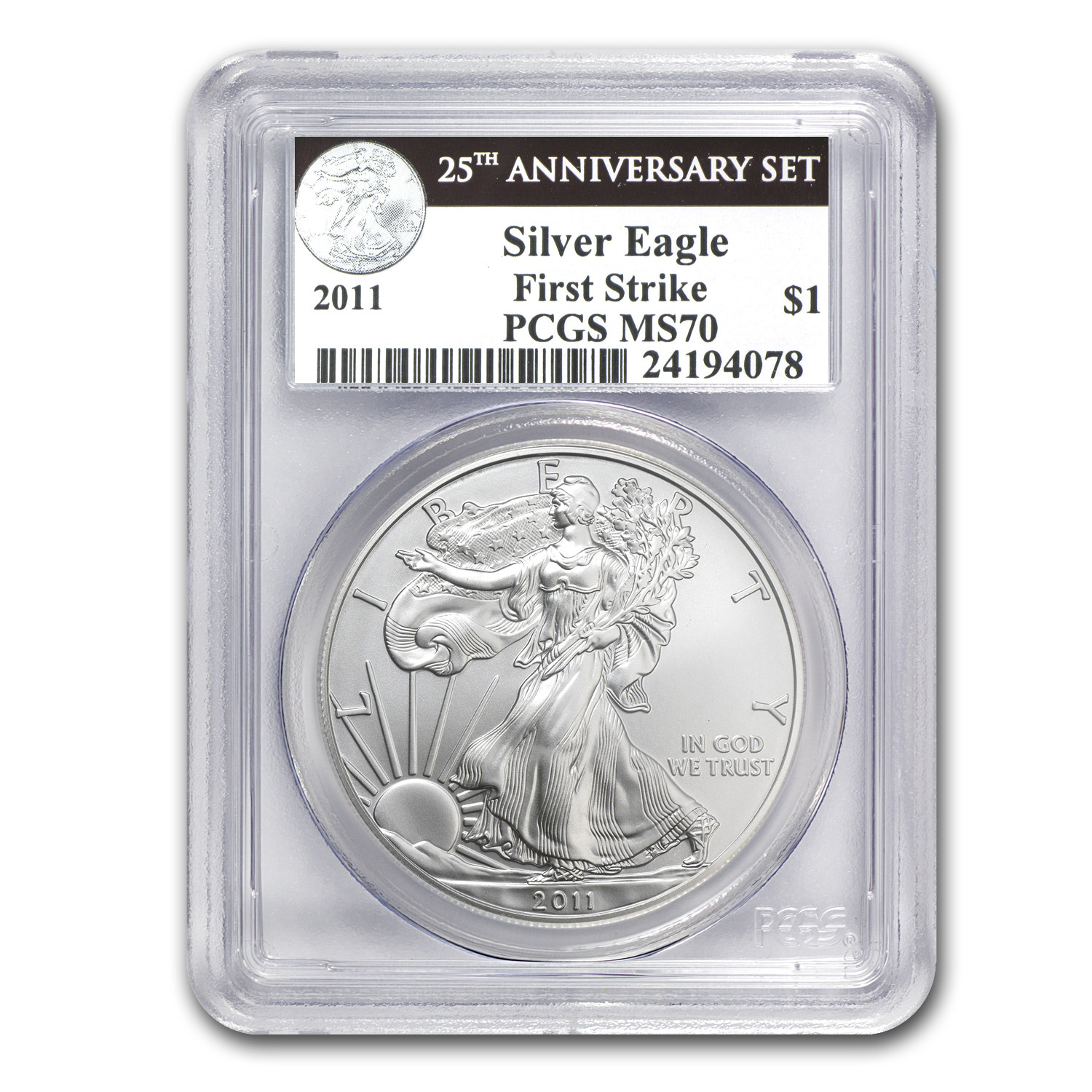 2011 5-Coin Silver Eagle Set MS/PR-70 PCGS (FS, 25th Anniv)