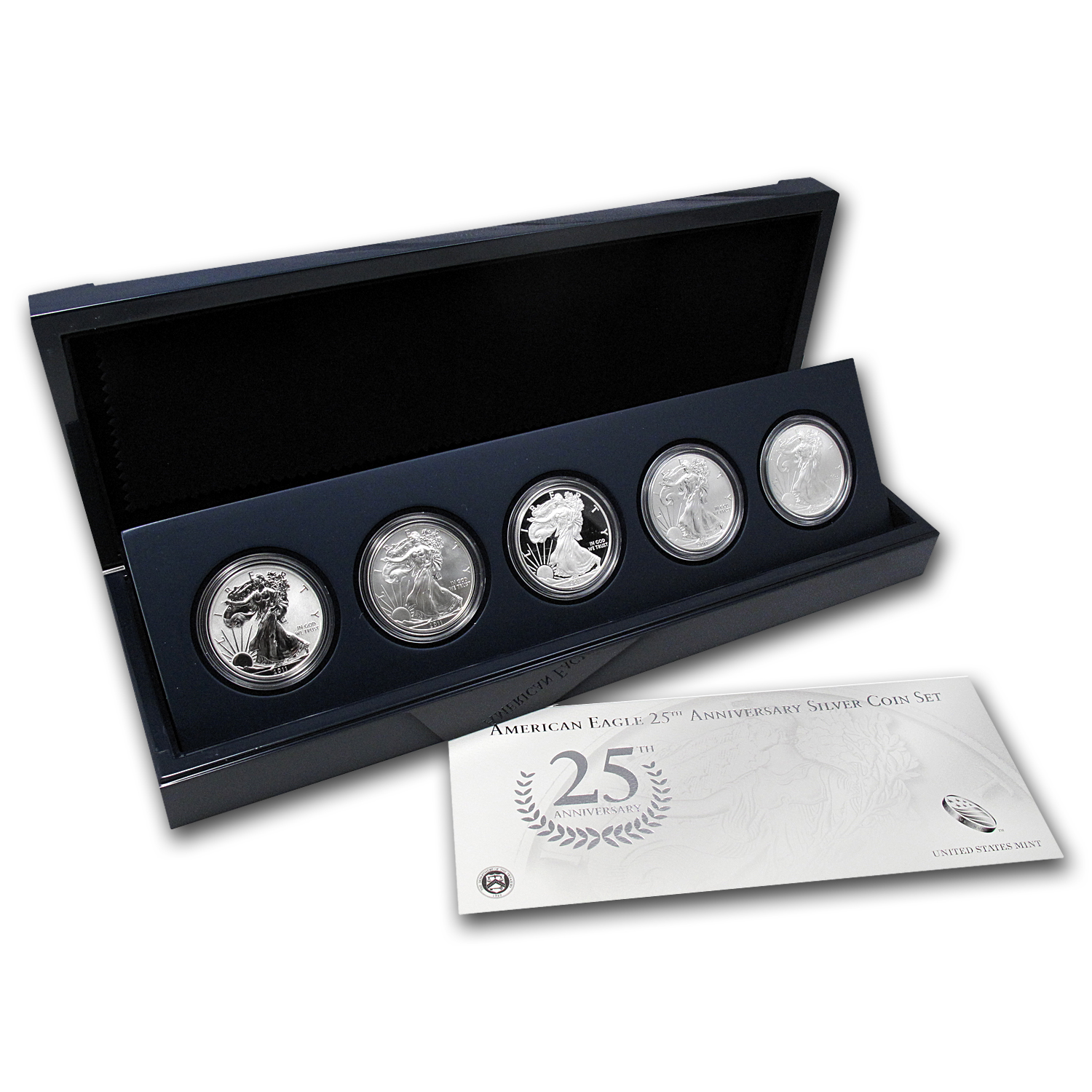 2011 5-Coin Silver American Eagle Set (25th Anniv, w/Box & COA)