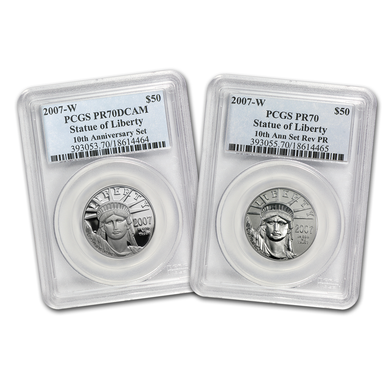 2007-W 2-Coin Proof Platinum Eagle Set PR-70 PCGS (10th Ann)