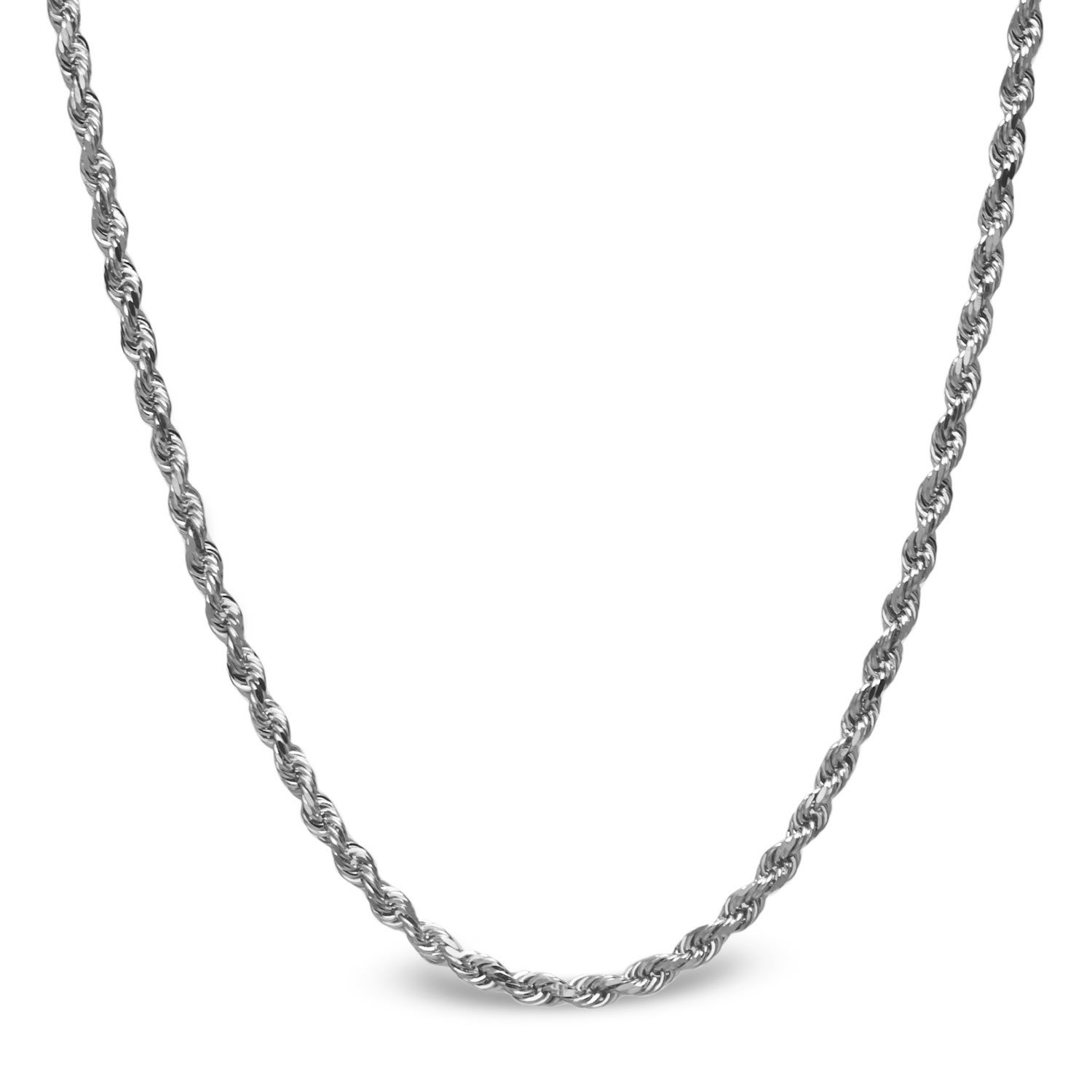 Diamond Cut Rope Sterling Silver Necklace - 18 in.