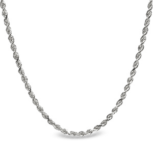 Diamond Cut Rope Sterling Silver Necklace - 20 in.