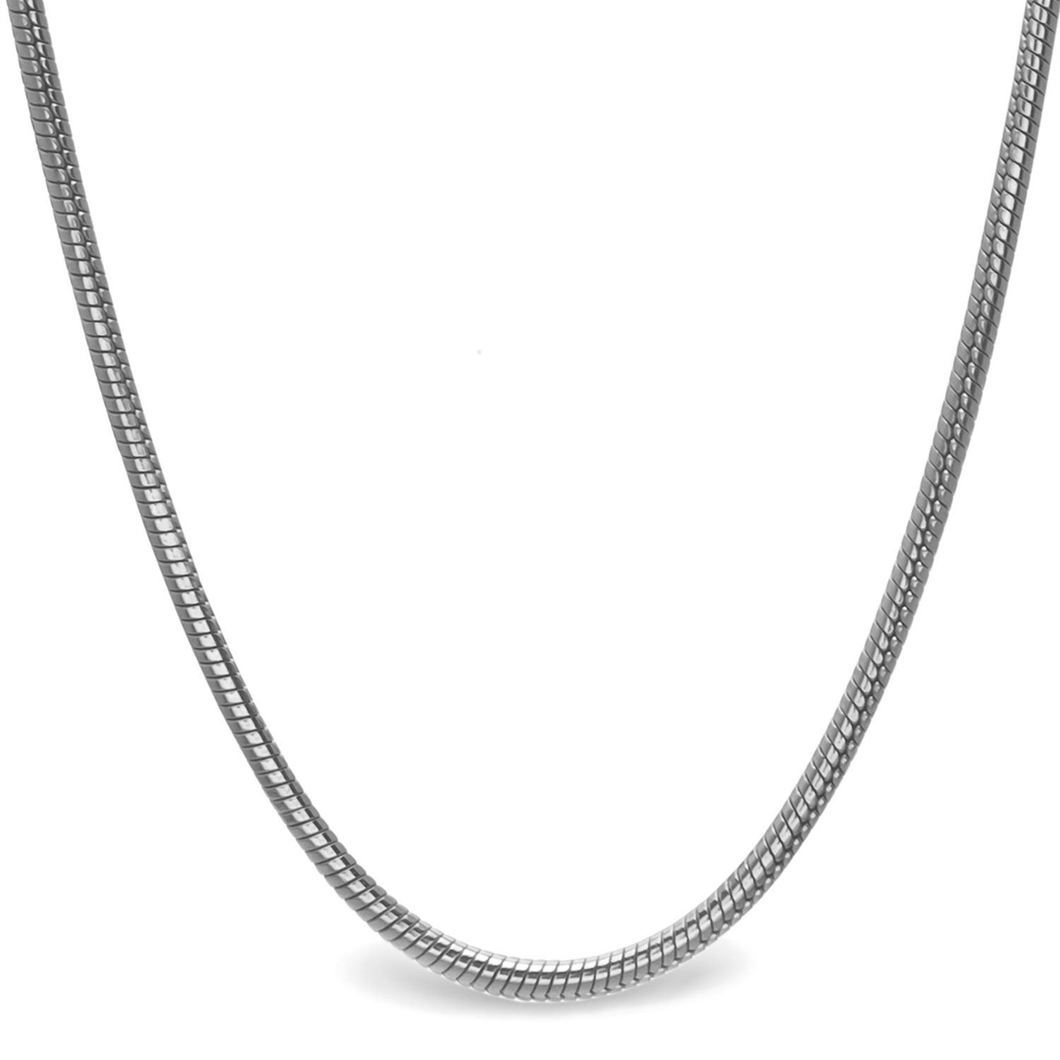 Classic Round Snake Sterling Silver Necklace - 20 in.
