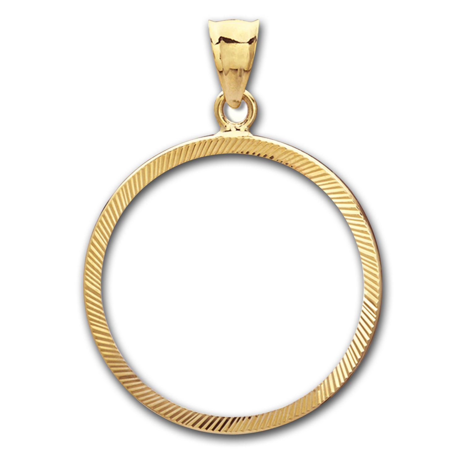 14K Gold Prong Diamond-Cut Coin Bezel - 14 mm