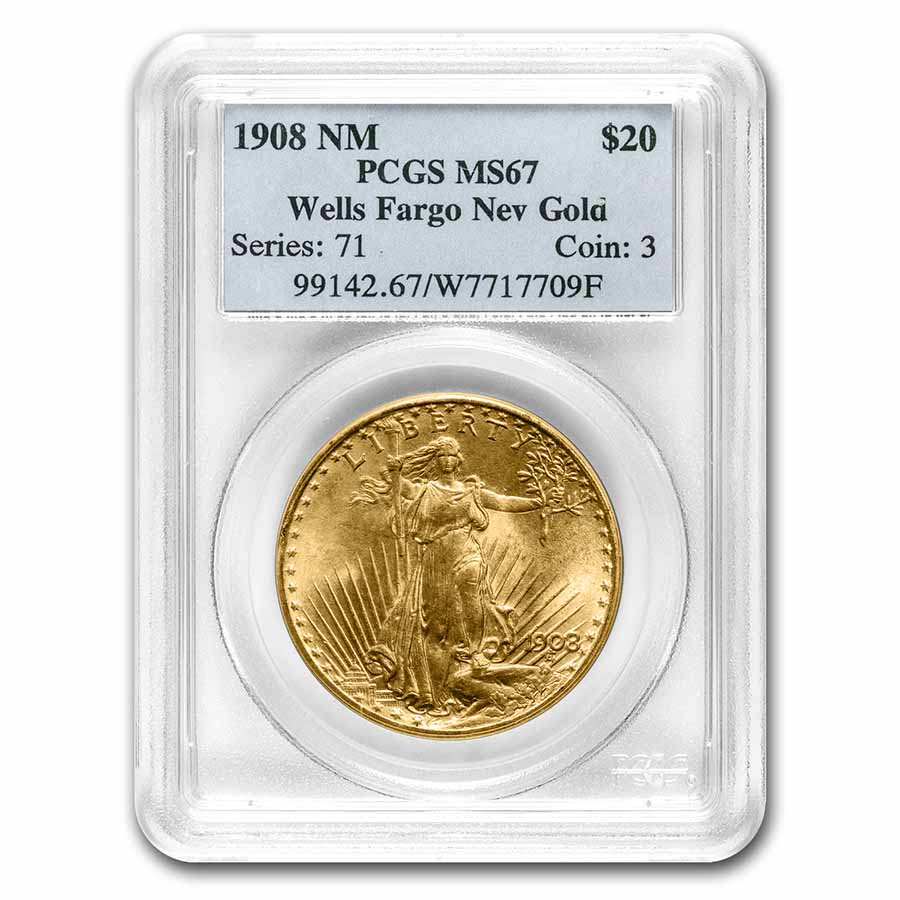 1908 $20 St. Gaudens Gold No Motto MS-67 PCGS (Wells Fargo)
