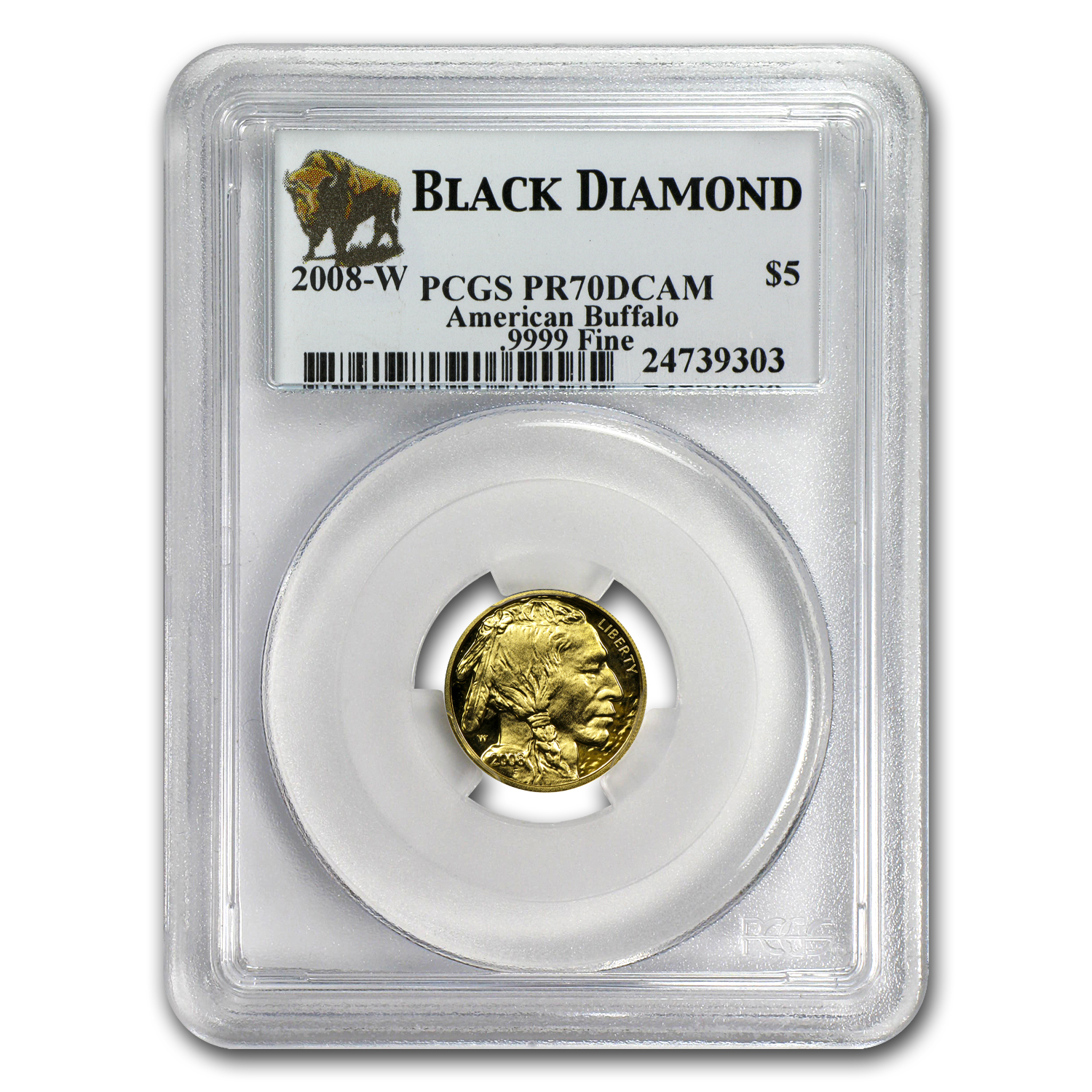 2008-W 1/10 oz Proof Gold Buffalo PR-70 PCGS (Black Diamond)