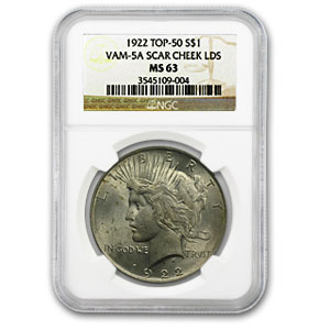 1922 Peace Dollar MS-63 NGC (VAM-5A, Scar Cheek LDS, Top-50)
