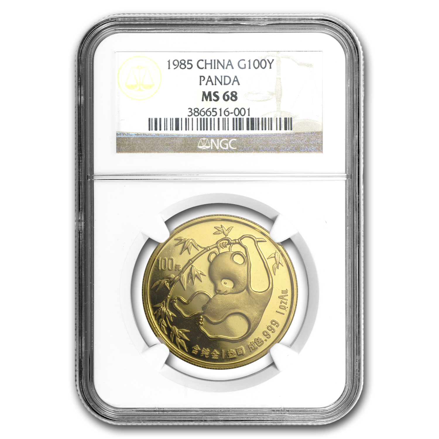 1985 China 1 oz Gold Panda MS-68 NGC