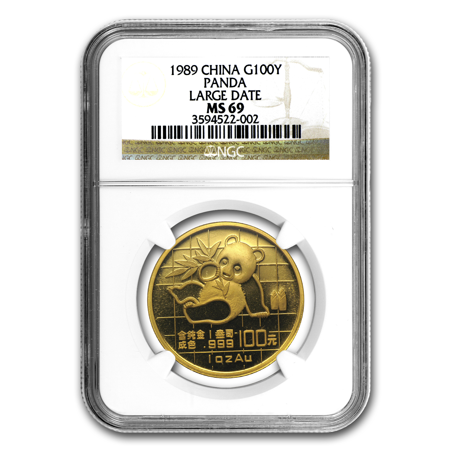 1989 China 1 oz Gold Panda Large Date MS-69 NGC
