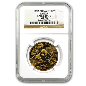 1992 1 oz Gold Chinese Panda Large Date MS-69 NGC