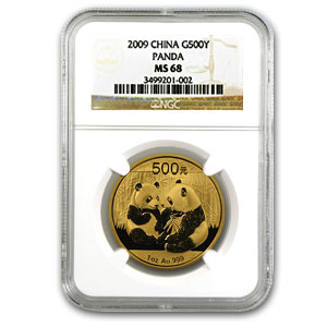 2009 China 1 oz Gold Panda MS-68 NGC