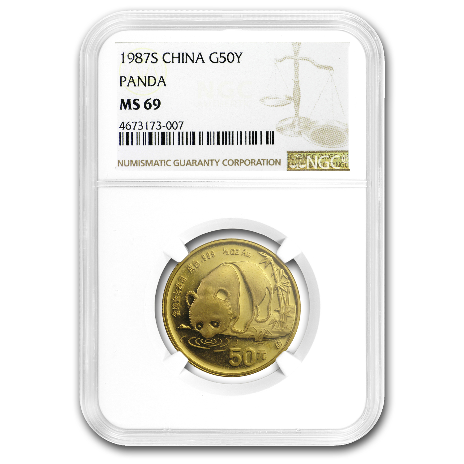 1987-S China 1/2 oz Gold Panda MS-69 NGC
