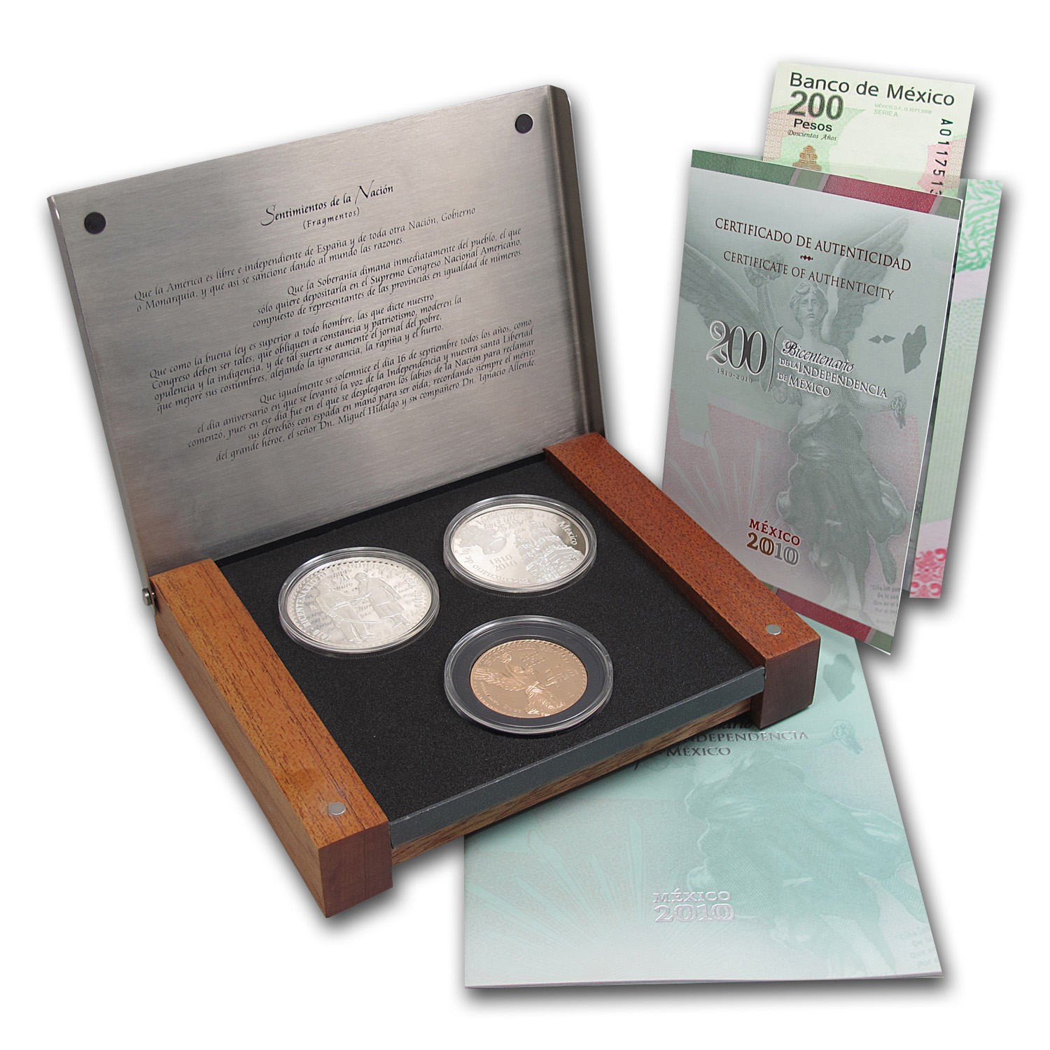 2010 Mexico 3-Coin Prestige Proof Set (1.2057 oz AGW, 4 oz ASW)
