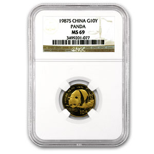1987-S (1/10 oz) Gold Chinese Pandas - MS-69 NGC