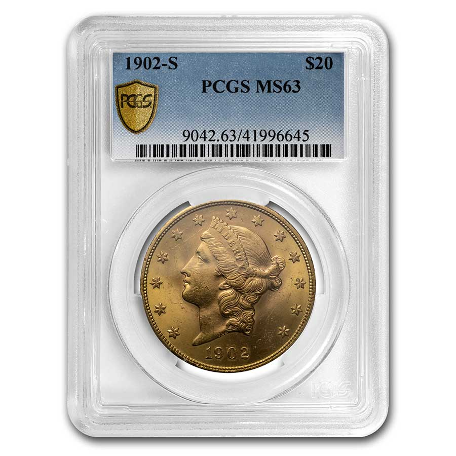 1902-S $20 Liberty Gold Double Eagle MS-63 PCGS