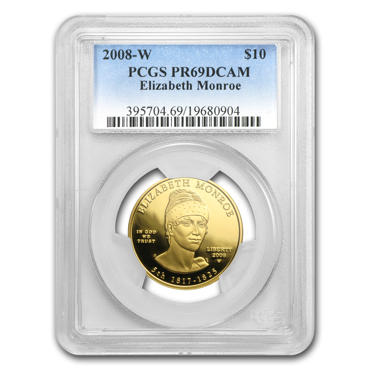 2008-W 1/2 oz Proof Gold Elizabeth Monroe PR-69 PCGS