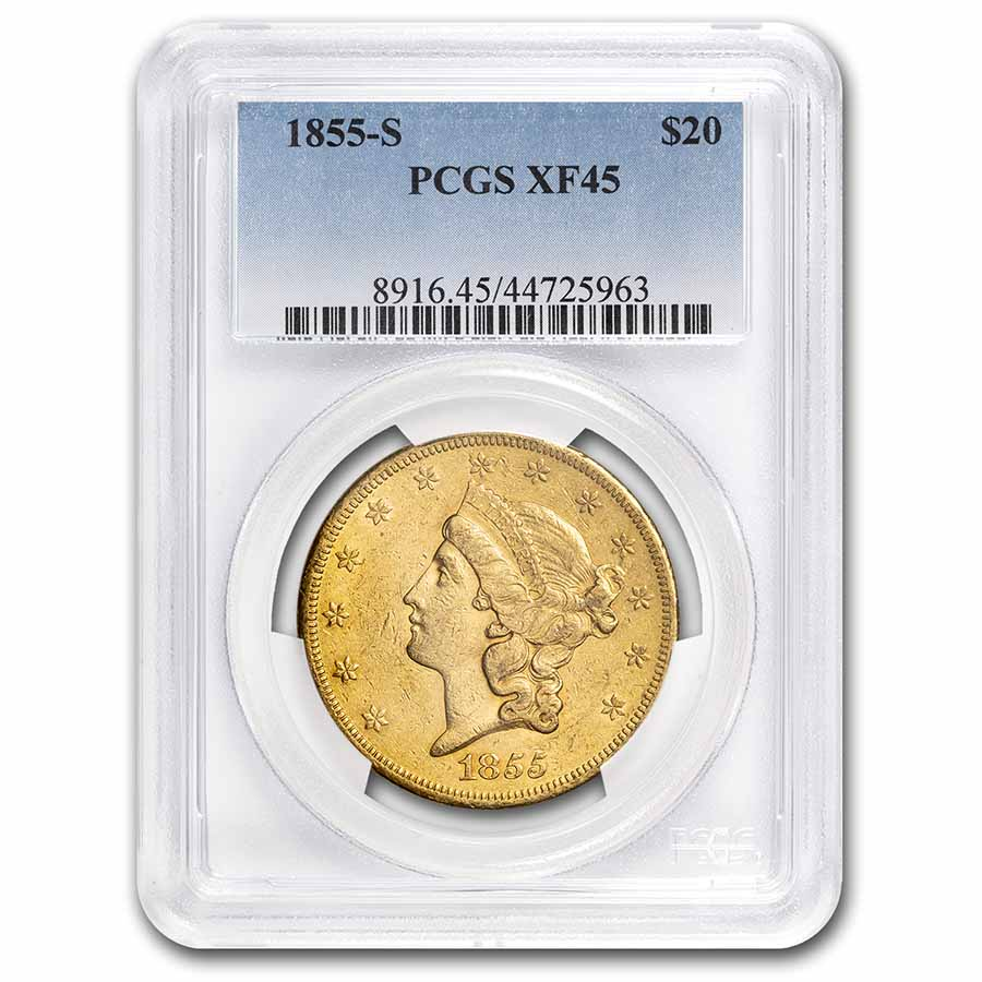 1855-S $20 Liberty Gold Double Eagle XF-45 PCGS