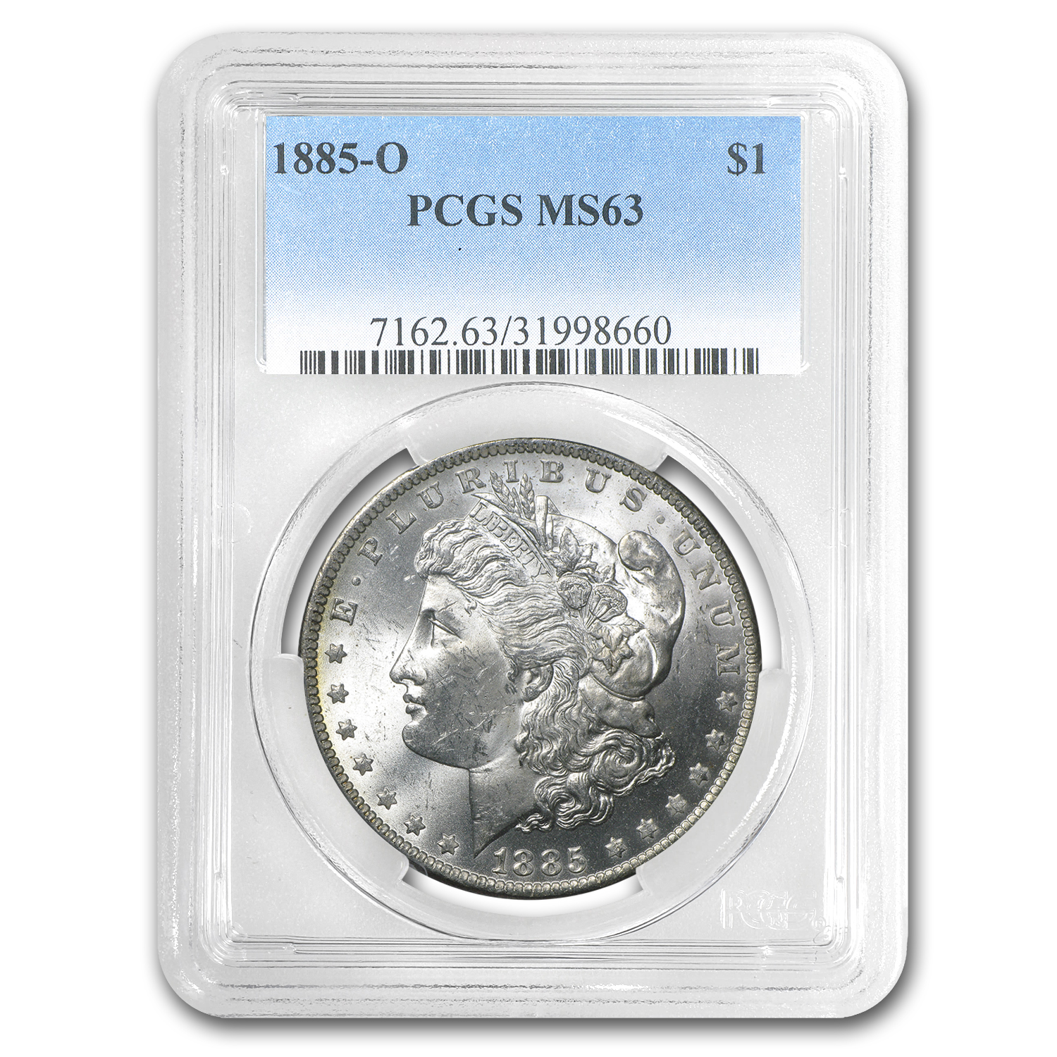 1885-O Morgan Dollar MS-63 PCGS (Green, Blue, Pink Rev Toning)