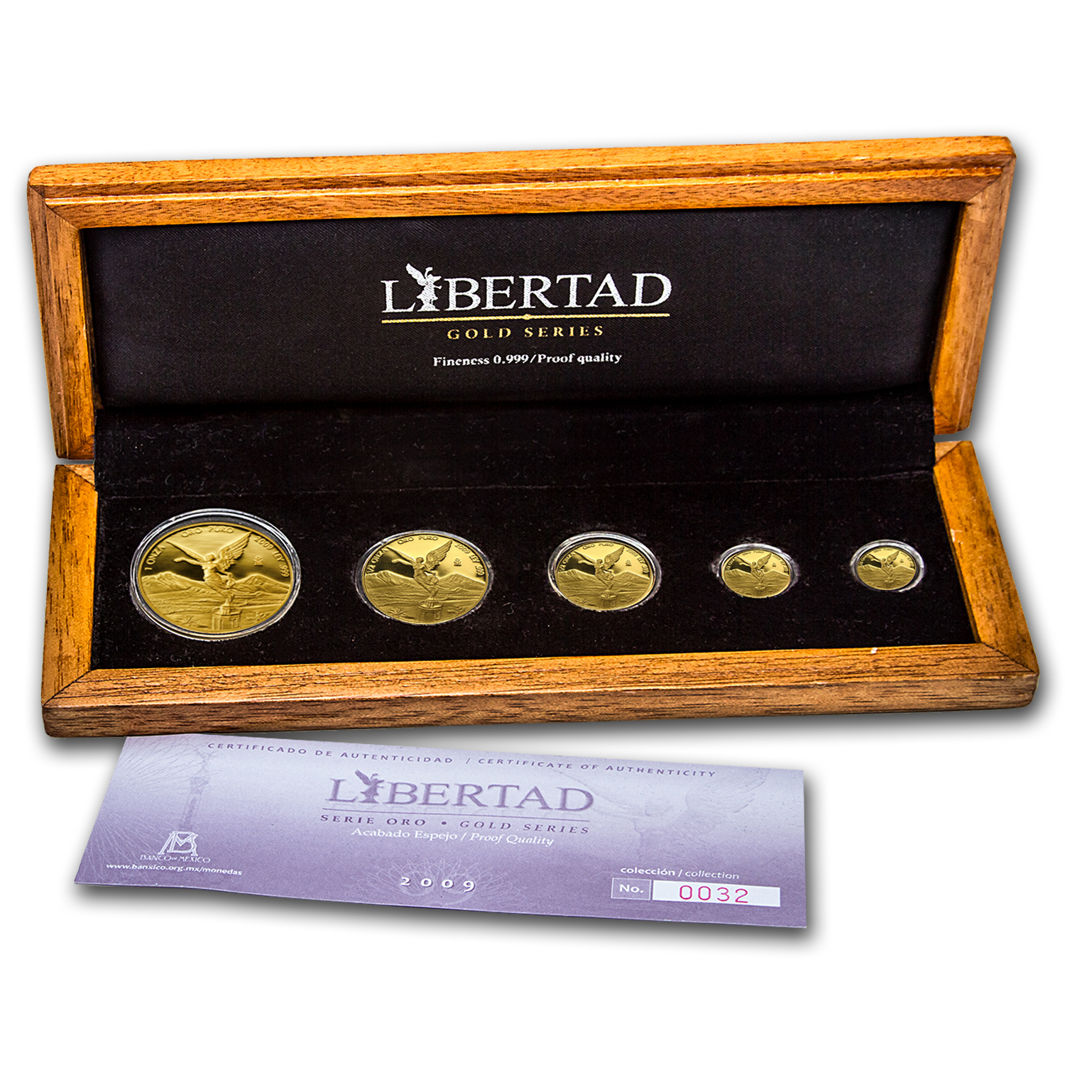 2009 Mexico 5-Coin Gold Libertad Proof Set (1.9 oz, w/Box & COA)