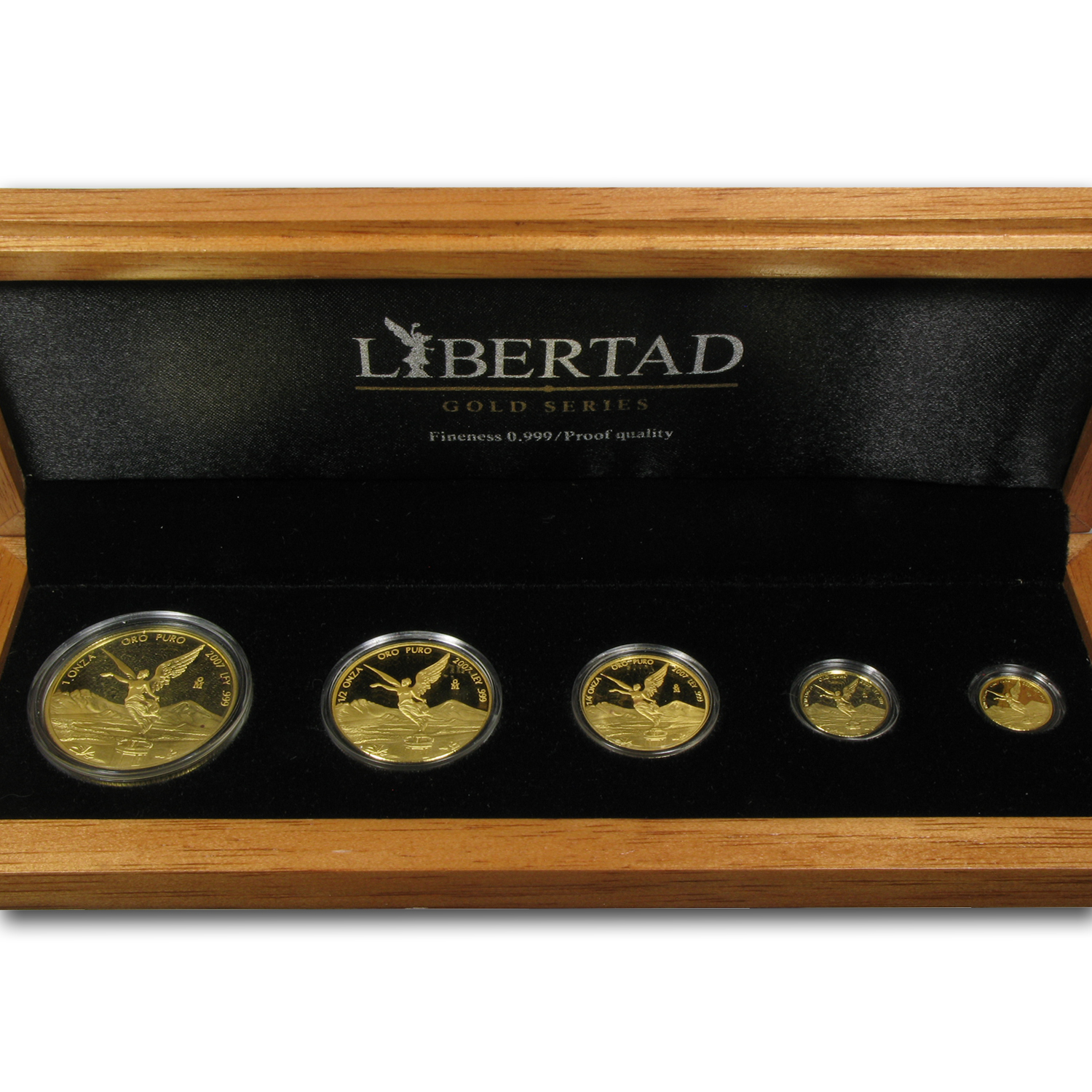 2007 5-Coin Gold Mexican Libertad Proof Set (1.9 oz, Wood Box)