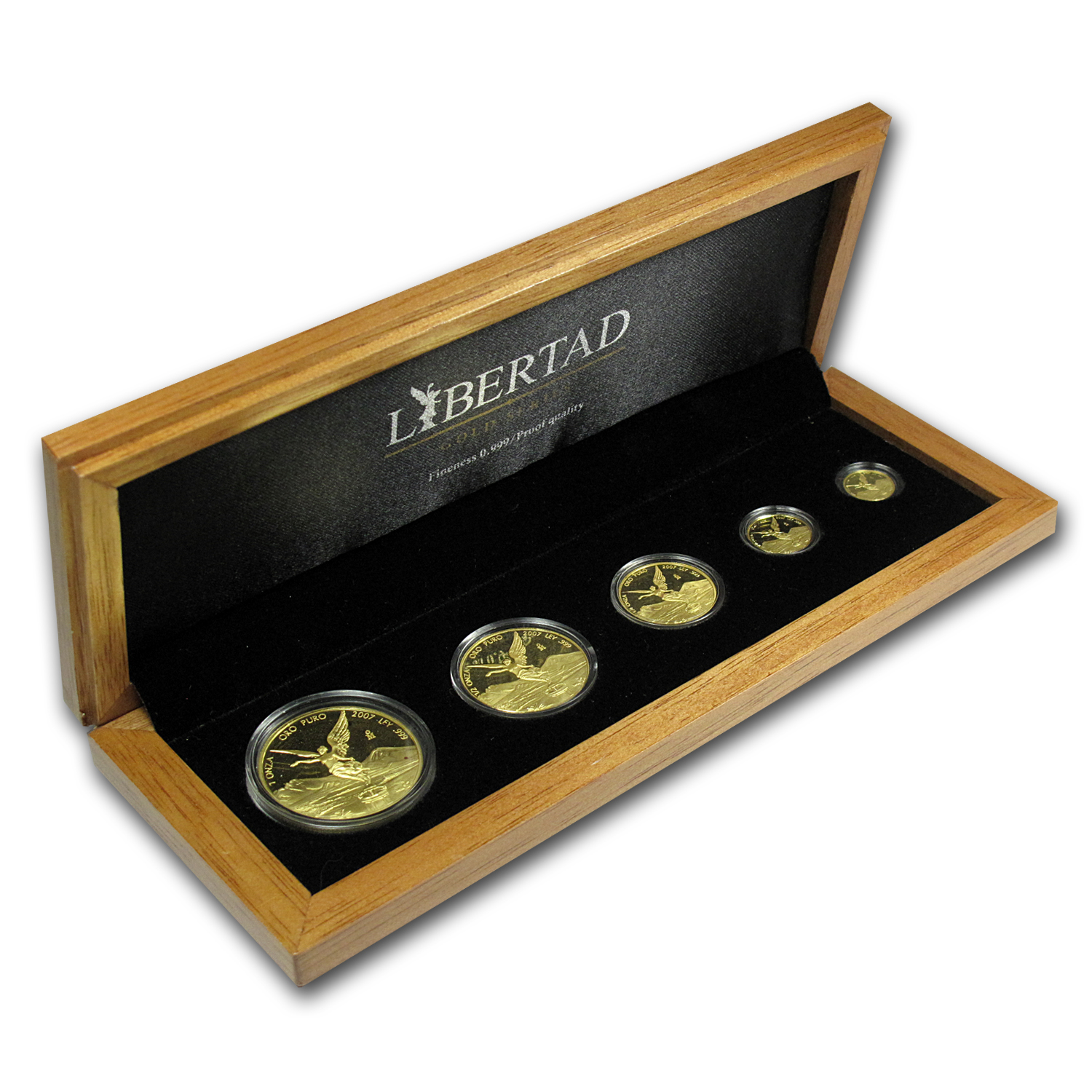 2007 Mexico 5-Coin Gold Libertad Proof Set (1.9 oz, Wood Box)