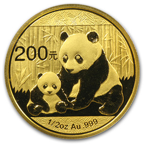 2012 China 1/2 oz Gold Panda BU (Sealed)