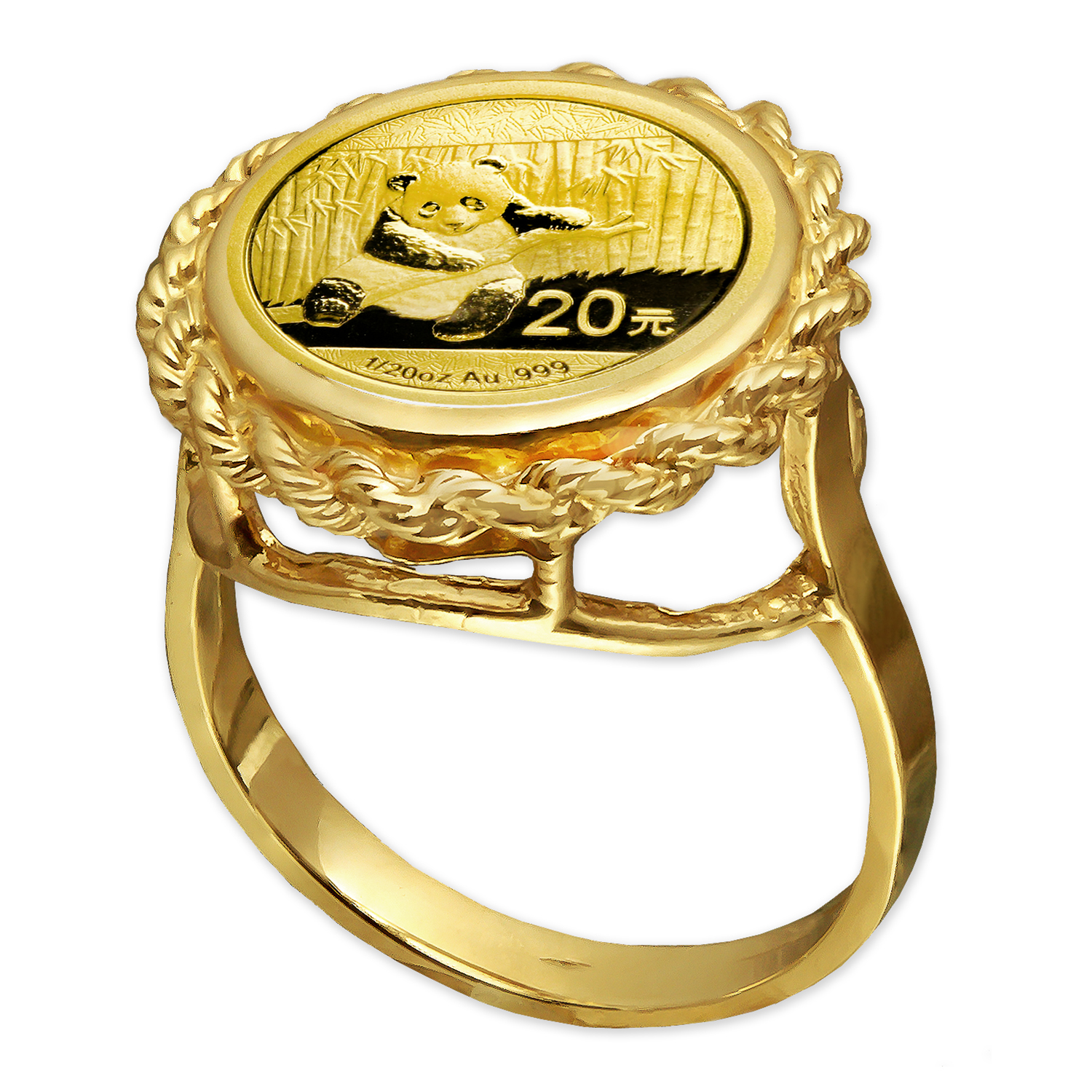 2014 1/20 oz Gold Panda Ring (Rope-Prong)