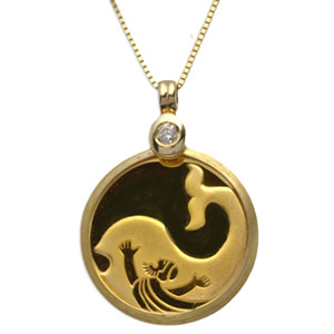 Israel Jonah in the Whale Gold Necklace (AGW 0.04388 oz)