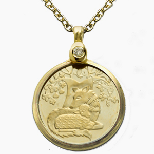 Israel Wolf With the Lamb Gold Pendant