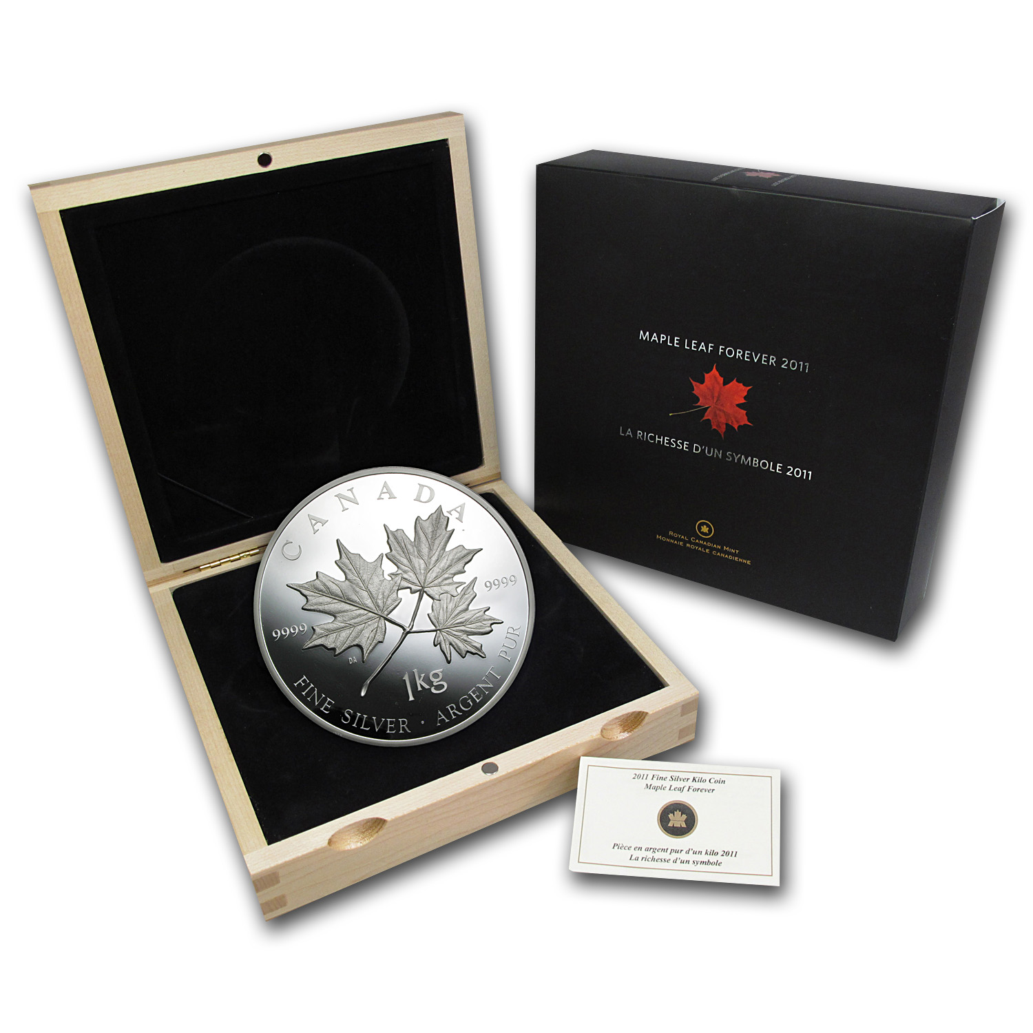 2011 1 Kilo Silver Canadian $250 Maple Leaf Forever (w/Box & COA)