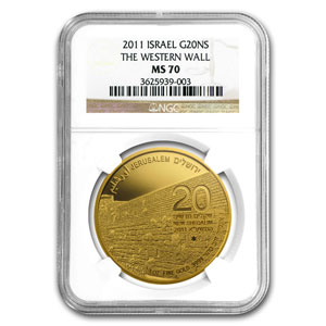 2011 Israel 1 oz Gold Western Wall MS-70 NGC