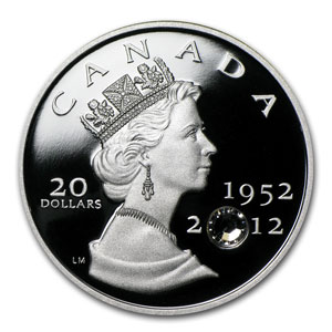 2012 Canada 1 oz Silver $20 Diamond Jubilee 60th Anniv. Proof