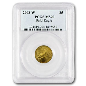 2008-W Gold $5 Commemorative Bald Eagle MS-70 PCGS