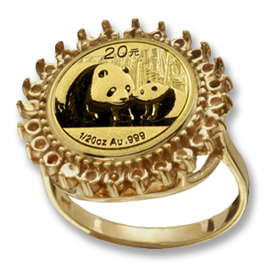14k Gold Panda Ring (Diamond Cut-Prong)