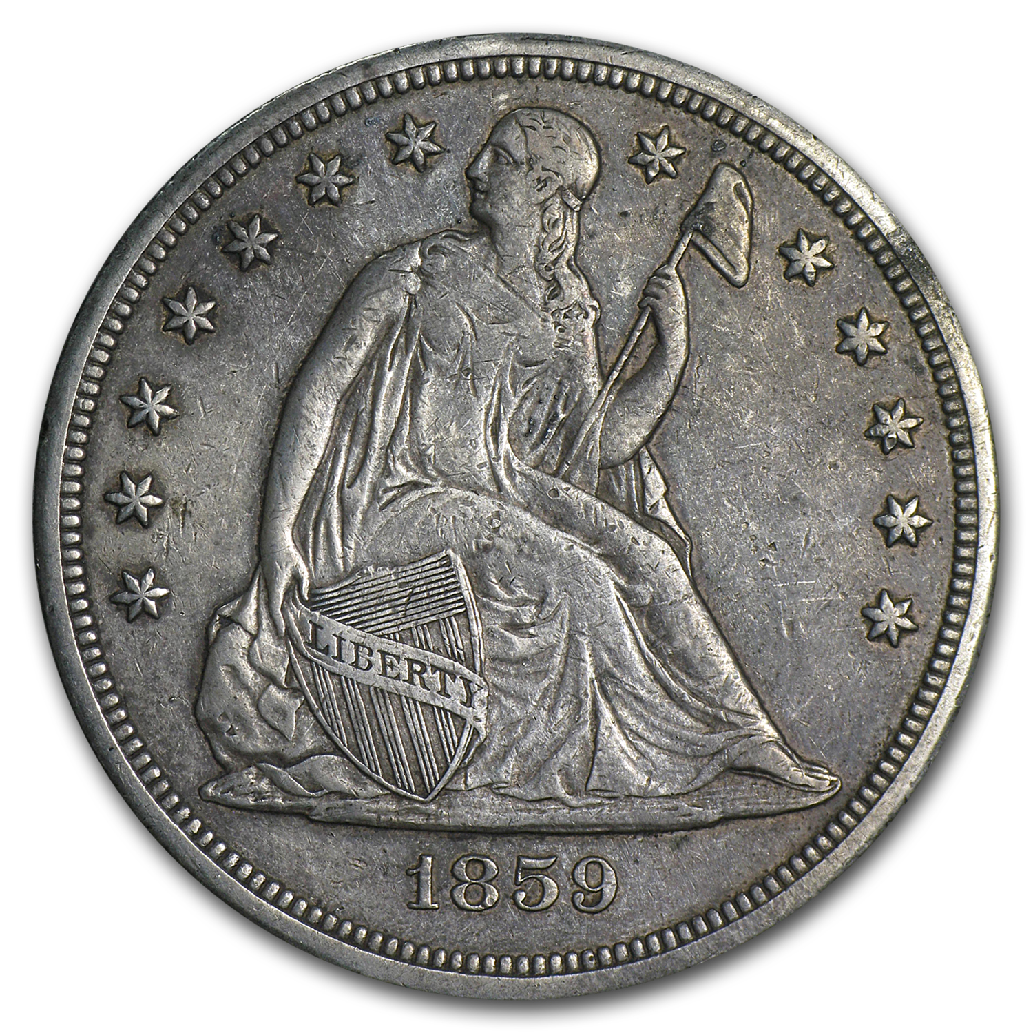 1859-S Liberty Seated Dollar Extra Fine
