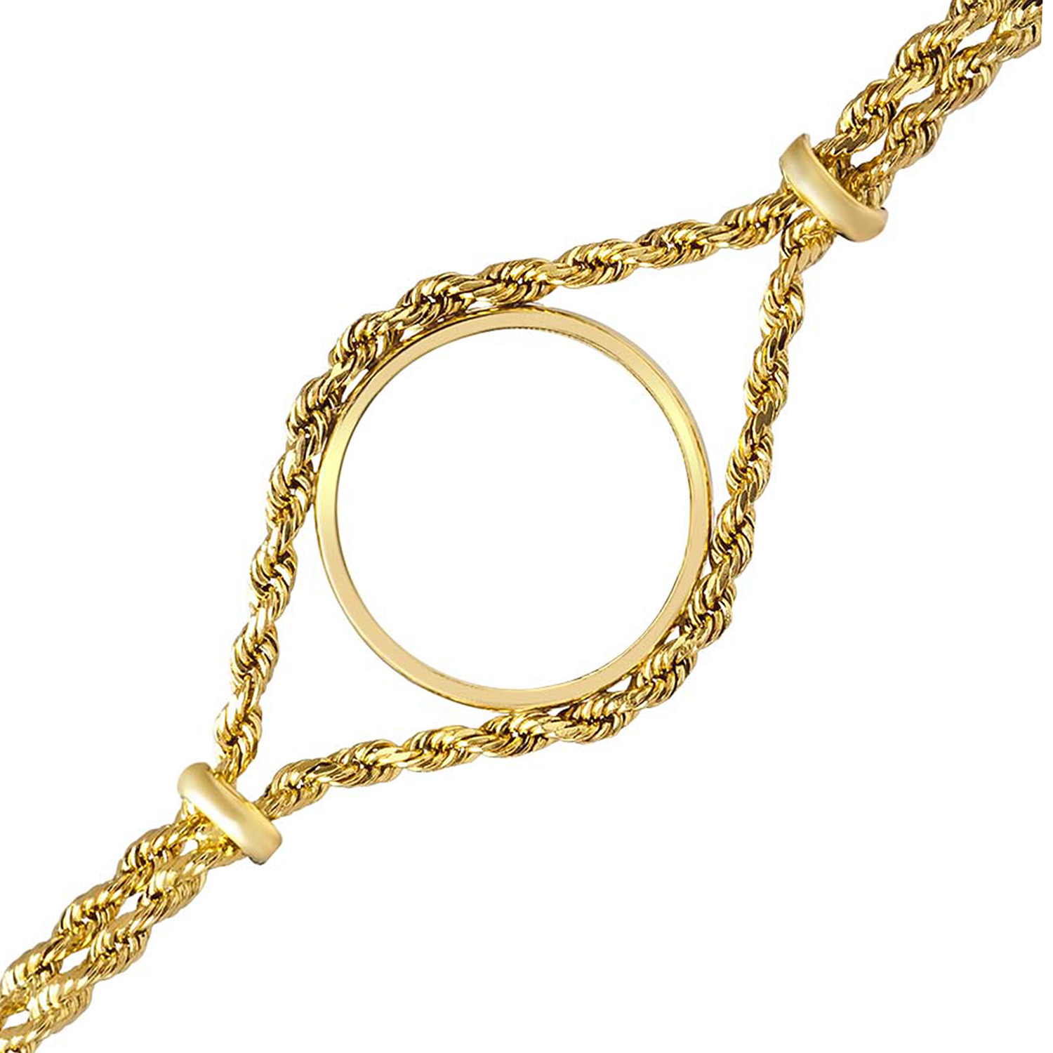 14k Gold Polished Rope Coin Bracelet - 7 inches (16.5 mm)