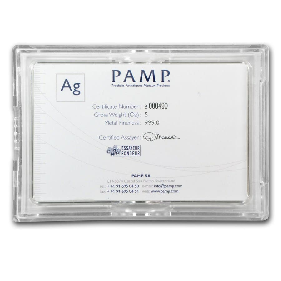 5 oz Silver Bar - PAMP Suisse (Fortuna, In Capsule w/Assay)