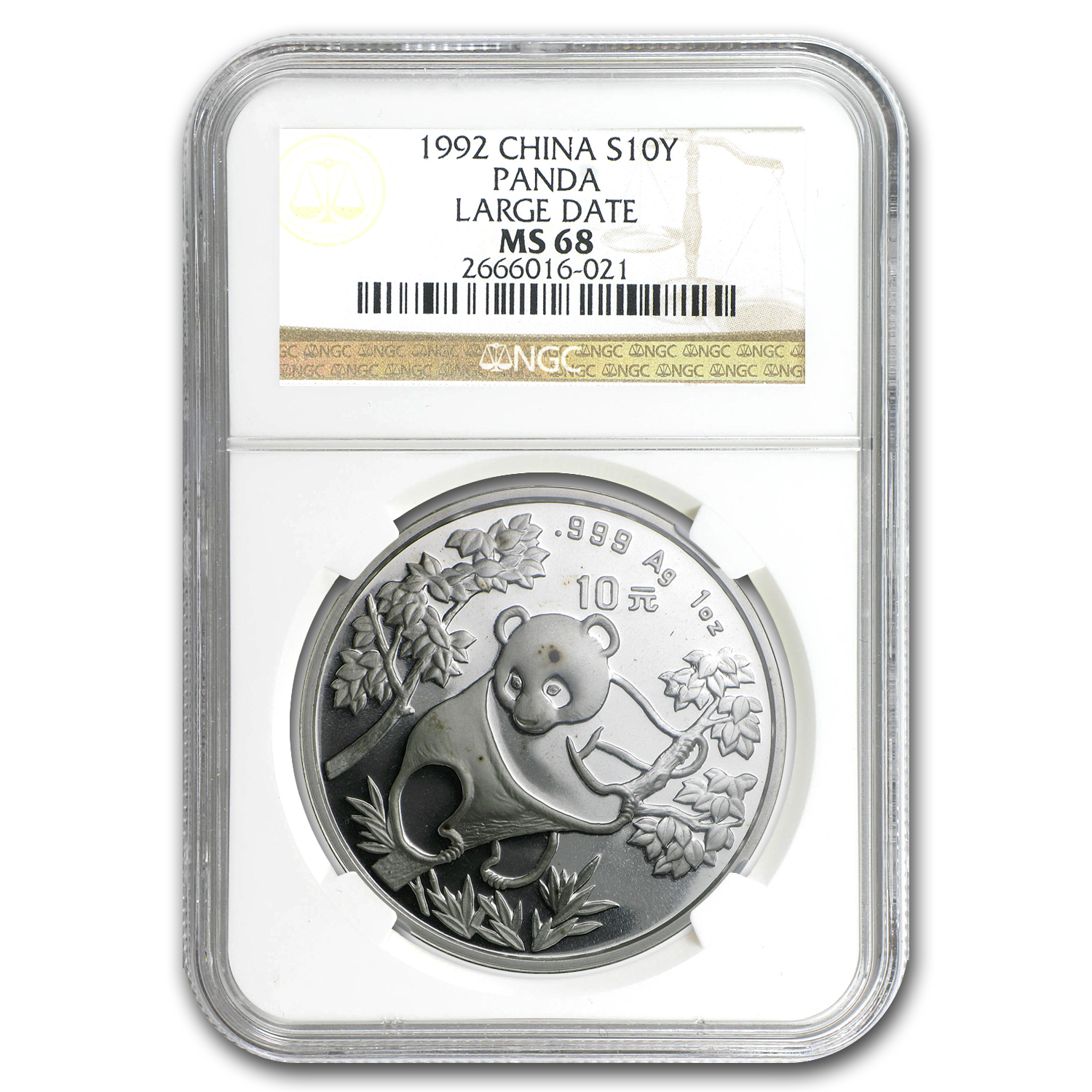1992 China 1 oz Silver Panda MS-68 NGC (Large Date)