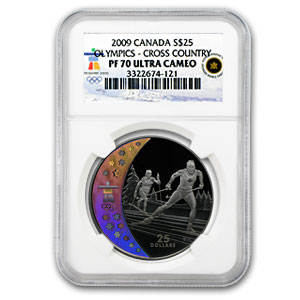 2009 Canada Silver $25 Olympic Cross Country Skiing PF-70 NGC