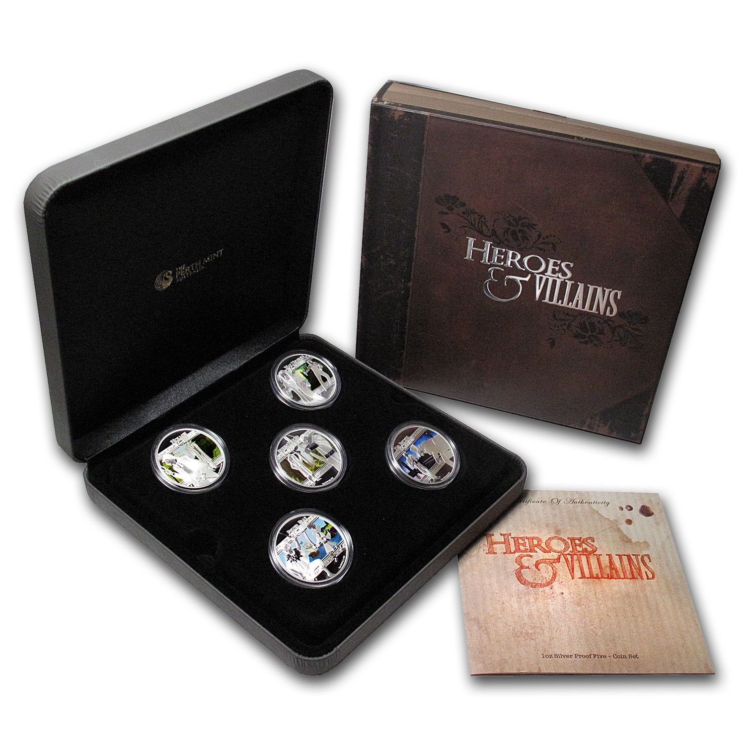 2011 1 oz Proof Silver Heroes and Villains 5 Coin Set