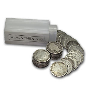 90% Silver Barber Quarters 40-Coin Roll Good+ (Pre-1901)