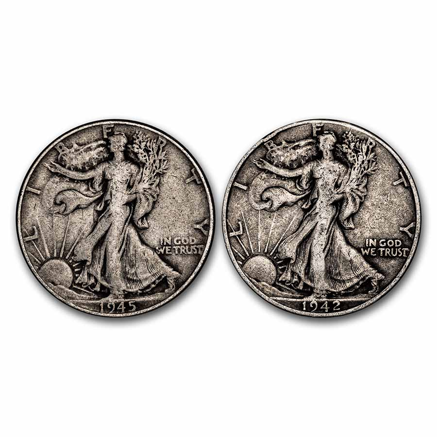$1.00 Face Value 90% Walking Liberty Half Dollars Avg Circ