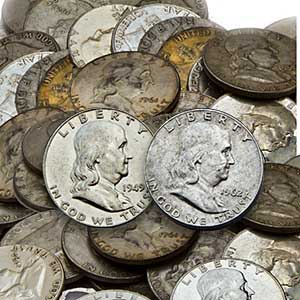 $1 Face Value Franklin Halves - 90% Silver (Average Circulated)