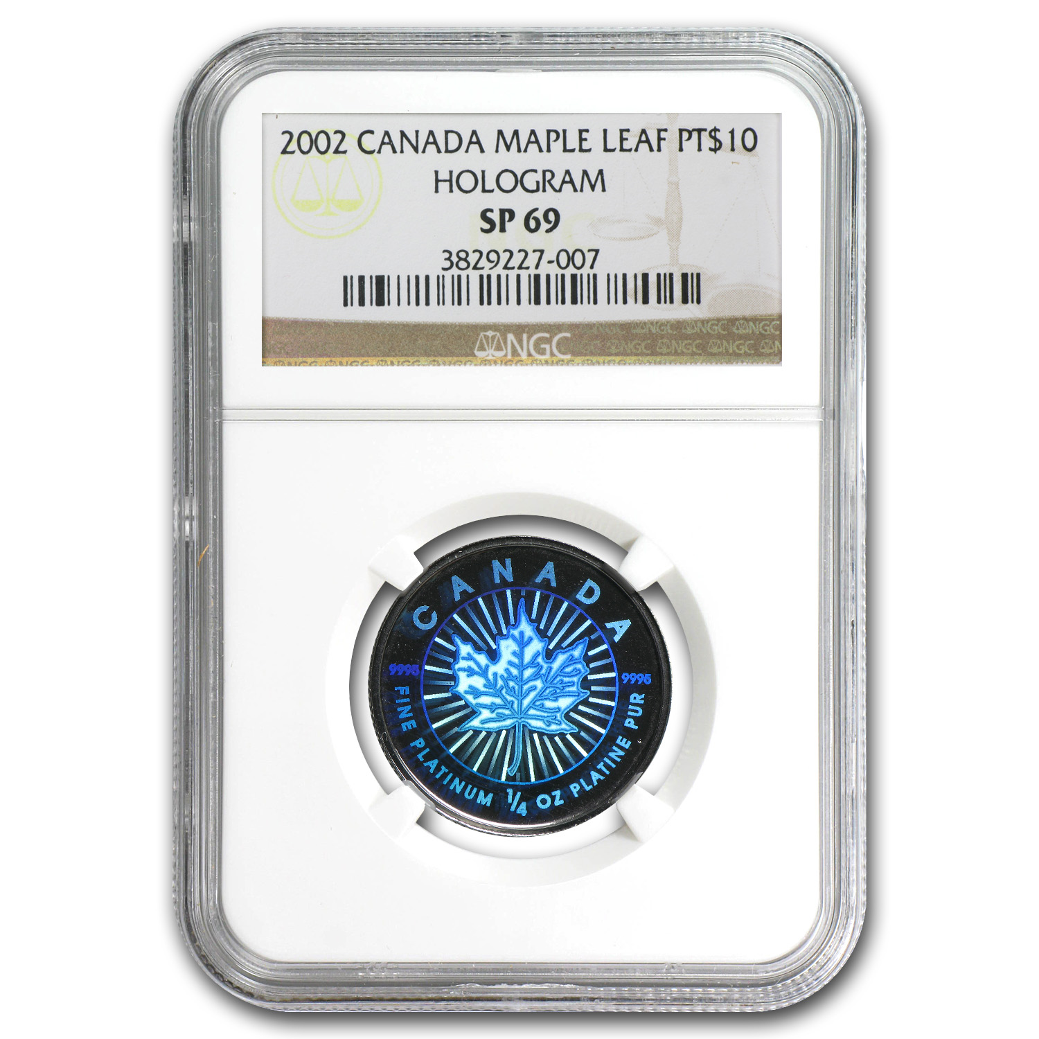 2002 1/4 oz Hologram Platinum Maple Leaf SP-69 NGC