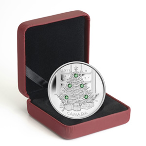 2011 1 oz Silver Canadian $20 Christmas Tree (W/Box & COA)