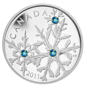 2011 1 oz Silver Canadian $20 Crystal Snowflake (Montana Blue)
