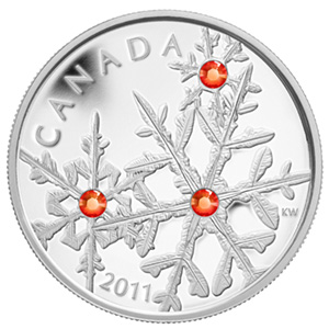 2011 Canada 1 oz Silver $20 Crystal Snowflake (Red, w/Box)